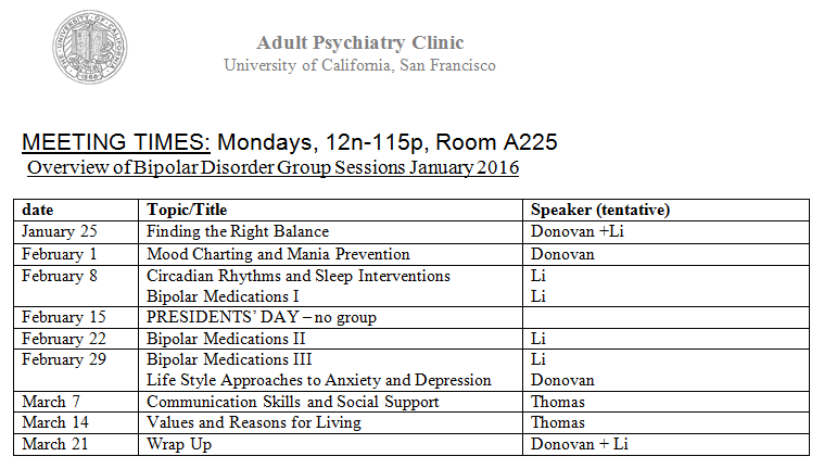 UCSF Group Psycho-Education for Bipolar