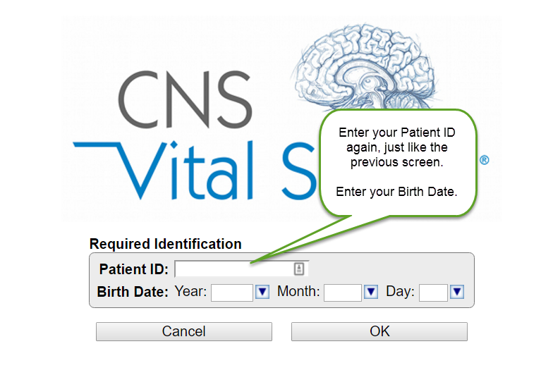 CNS Vital Signs Enter Patient ID Again
