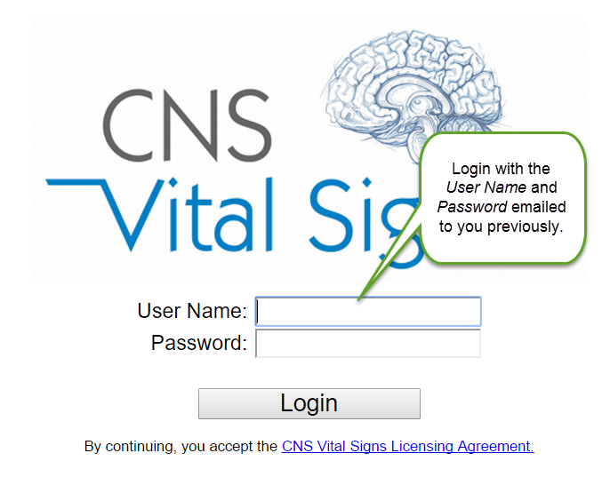 CNS Vital Signs Online Login Information